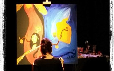 """Live painting in the show """"Antigone 3.0: donne che hanno lottato contro la mafia o l'hanno scelta. Le carriere"""""""